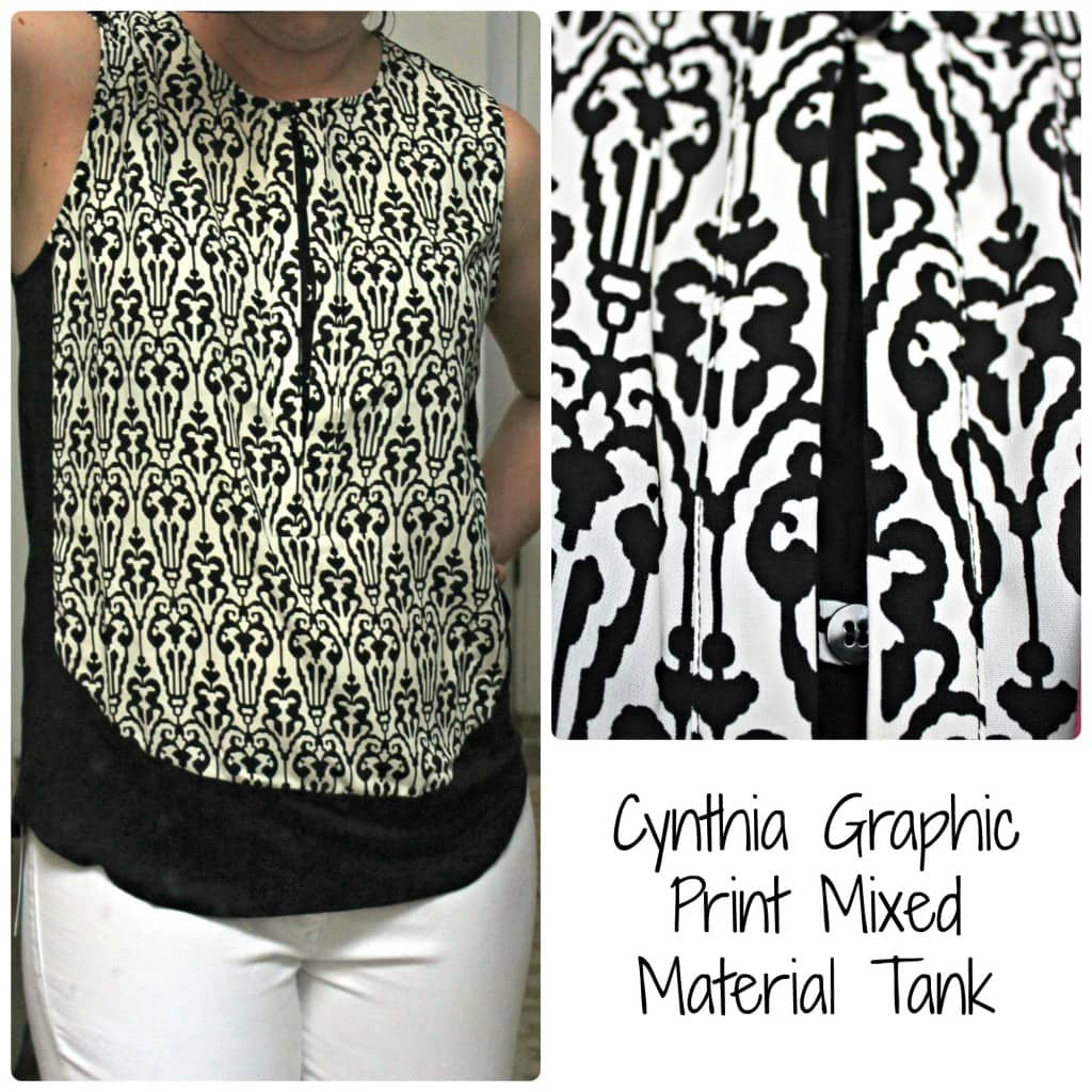 Cynthia Graphic Print Mixed Material Tank