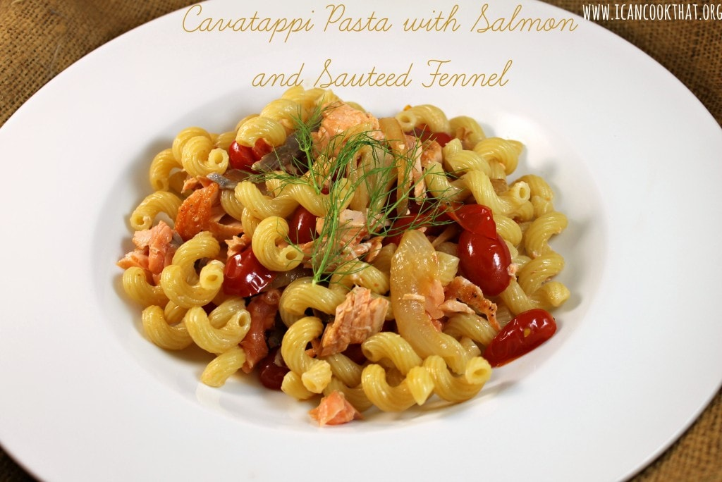 Cavatappi Pasta with Salmon and Sauteed Fennel