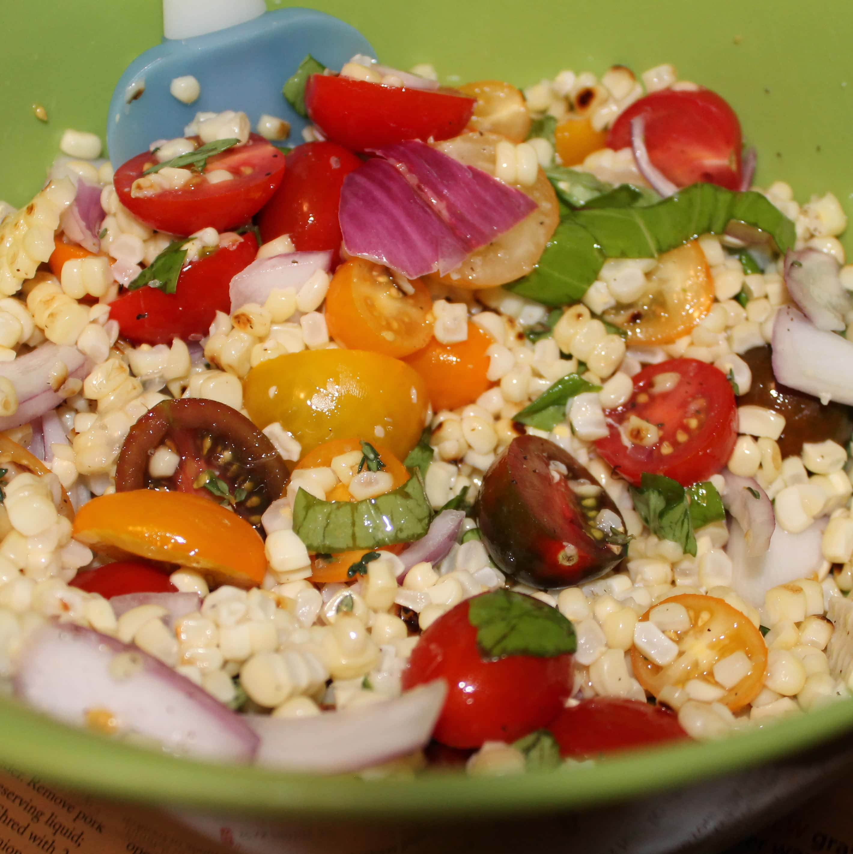 Charred Corn Salad With Basil And Tomatoes Recipe — Dishmaps