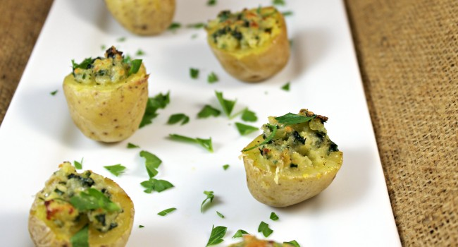 Spinach-Chive Potato Bites with Kerrygold Cheese and Butter