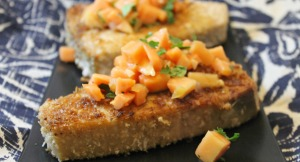 Swordfish with Macadamia Nut Crust and Papaya Salsa