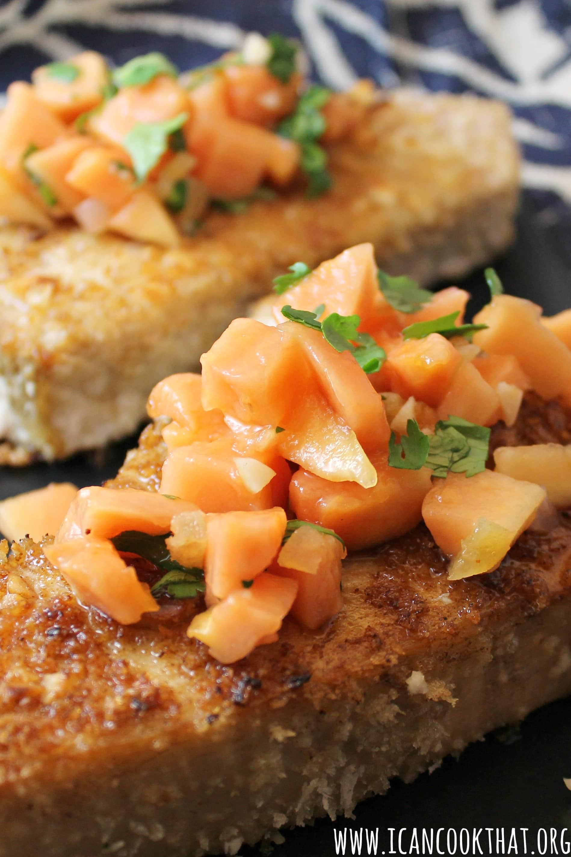 recipe: grilled macadamia-crusted tuna with papaya salsa [17]