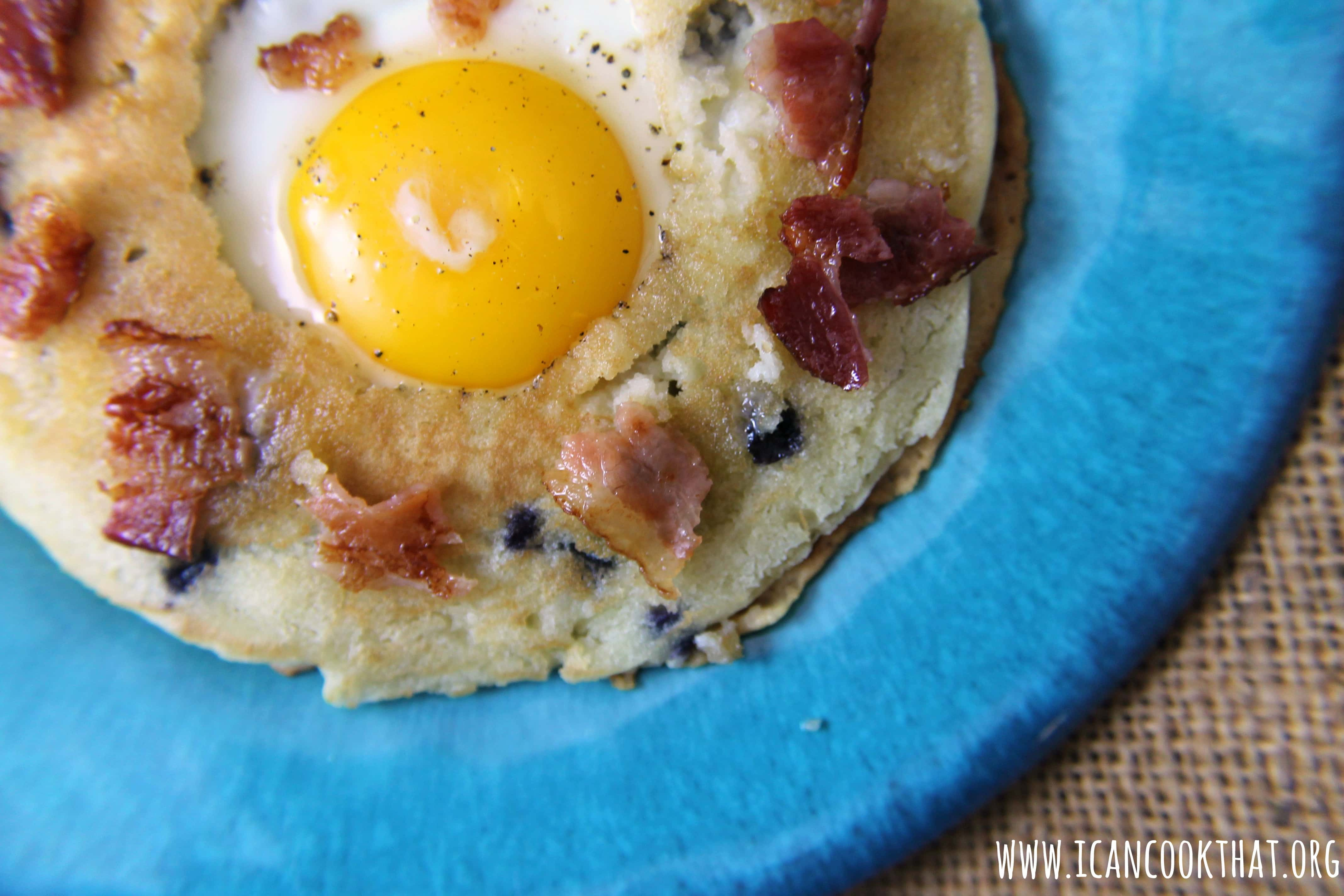 Frog in a Hole with Blueberry Pancakes