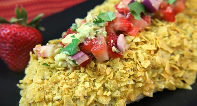 Tortilla Crusted Fish with Strawberry Avocado Salsa #strawberrymonth
