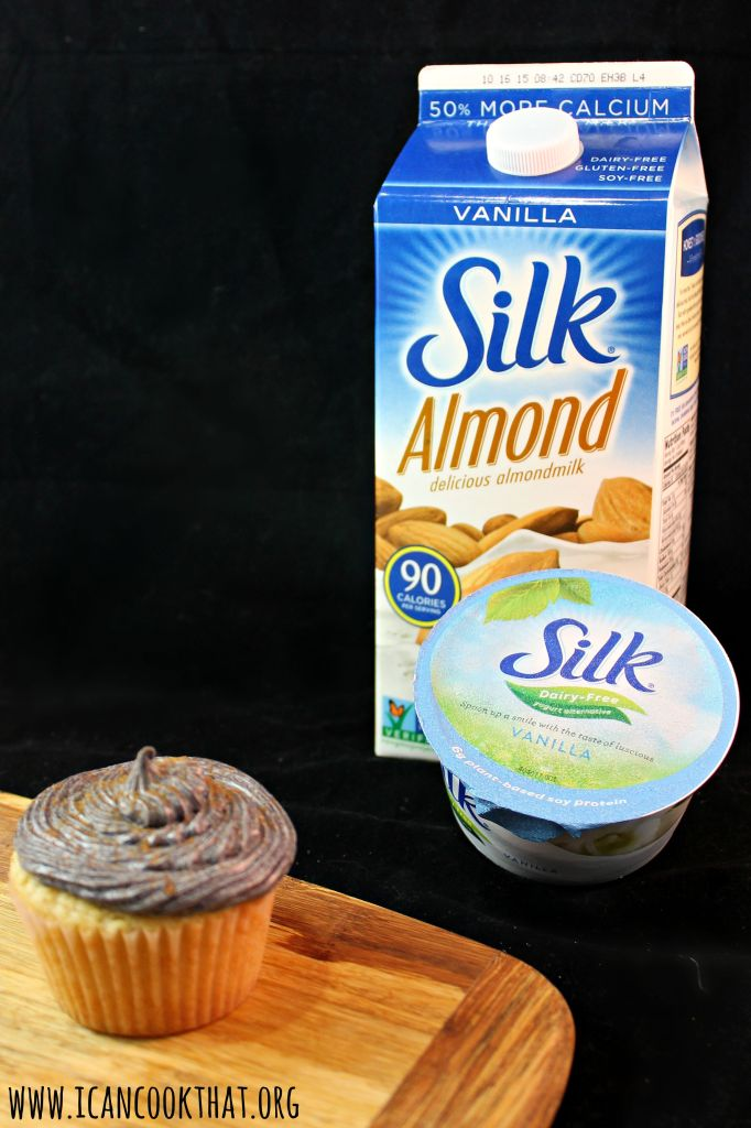 Vegan Vanilla Almond Cupcakes with Plum Frosting
