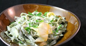Squash Ribbon Pasta with Lemon Herb Cream Sauce