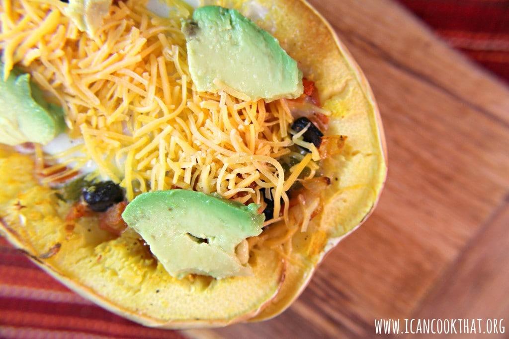 Mexican Spaghetti Squash Egg Boats