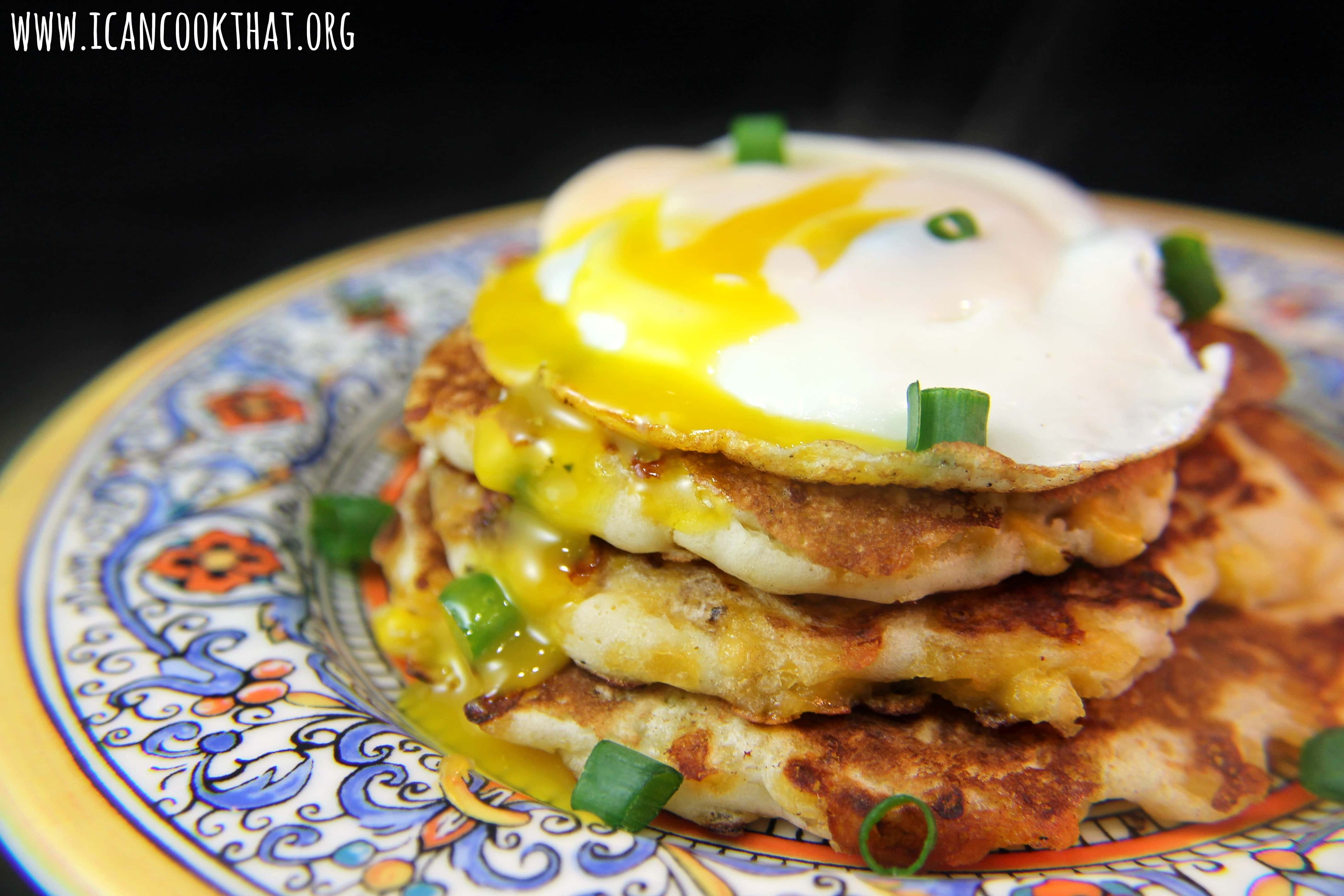 {Giveaway} Cheesy Corn Pancakes with Eggs