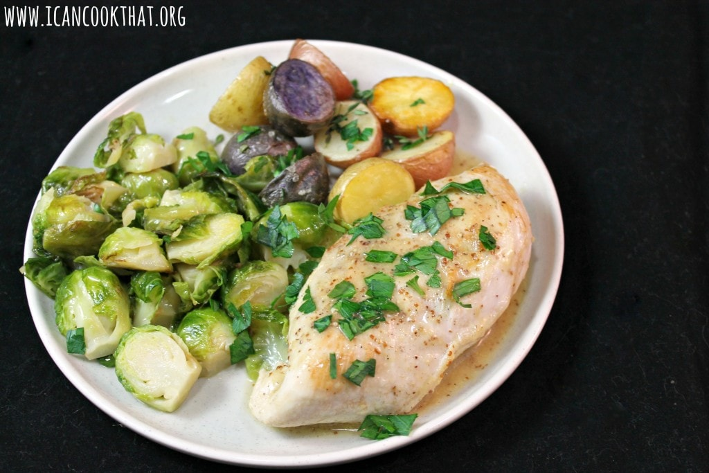 Mustard Chicken with Brussels Sprouts and Roasted Potatoes