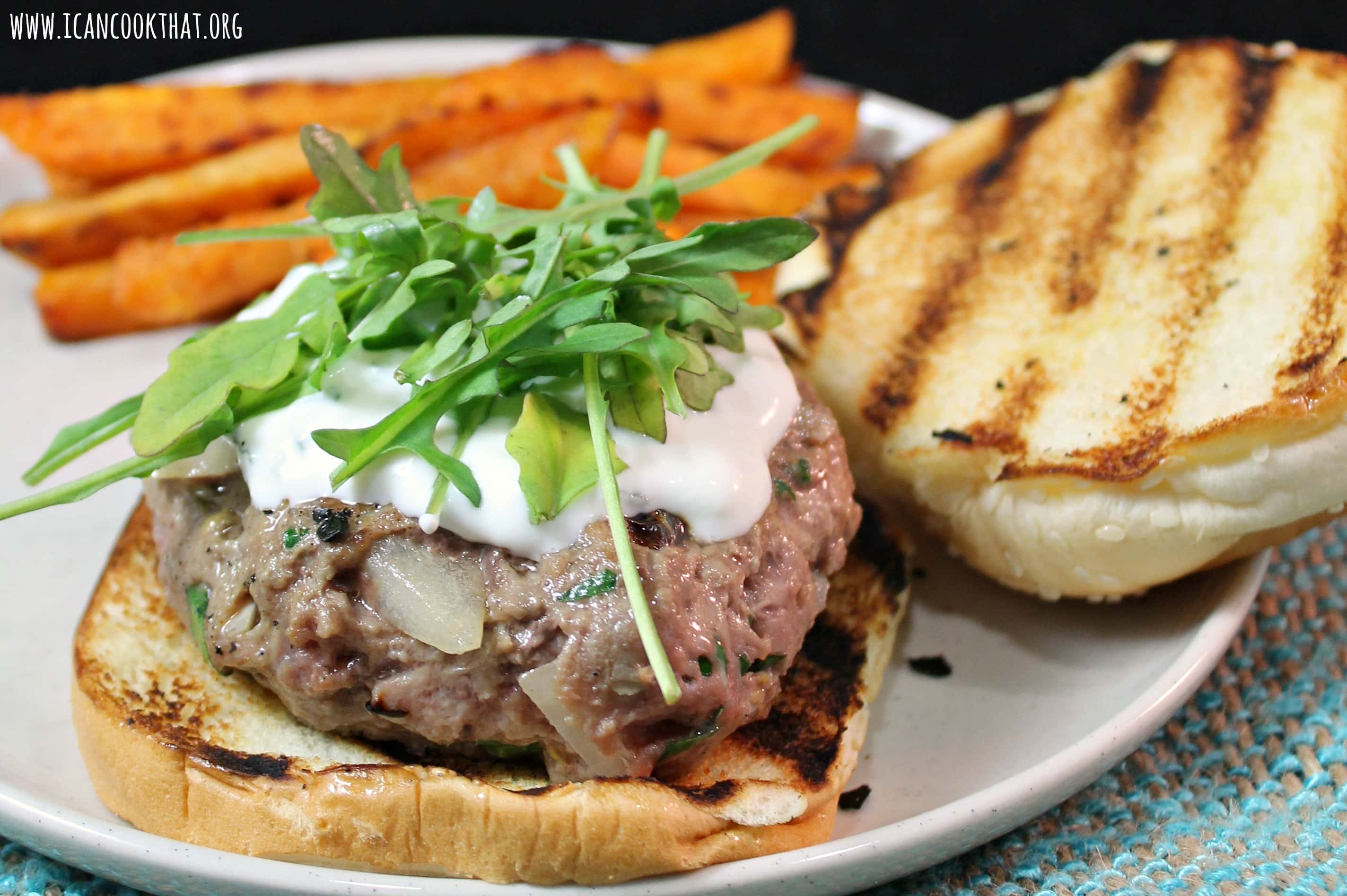 Lamb Burgers with Feta-Mint Spread and Sweet Potato Fries