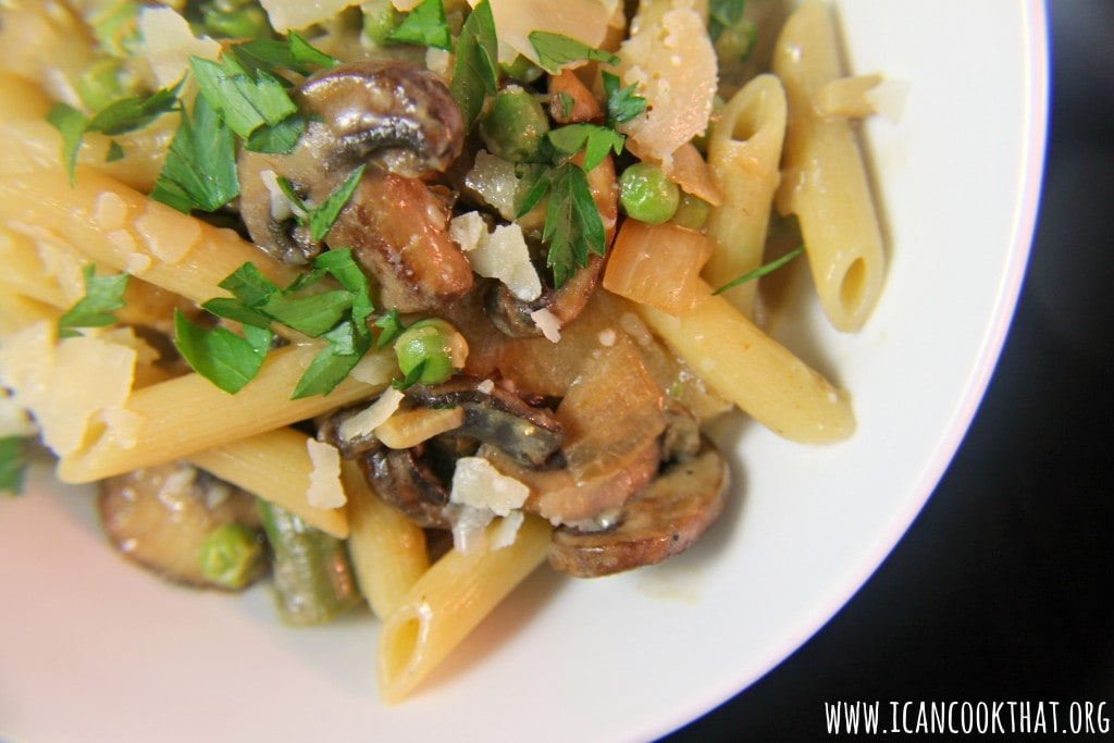 Spring Vegetable Penne with Lemon-Cream Sauce