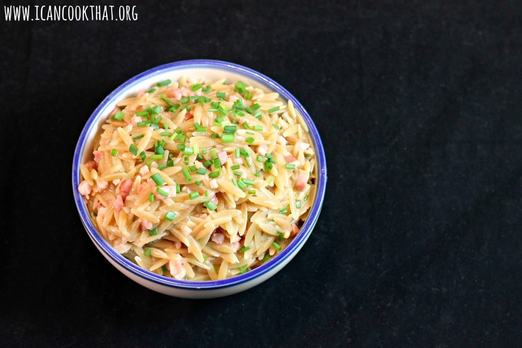 Orzo with Crispy Pancetta and Chives