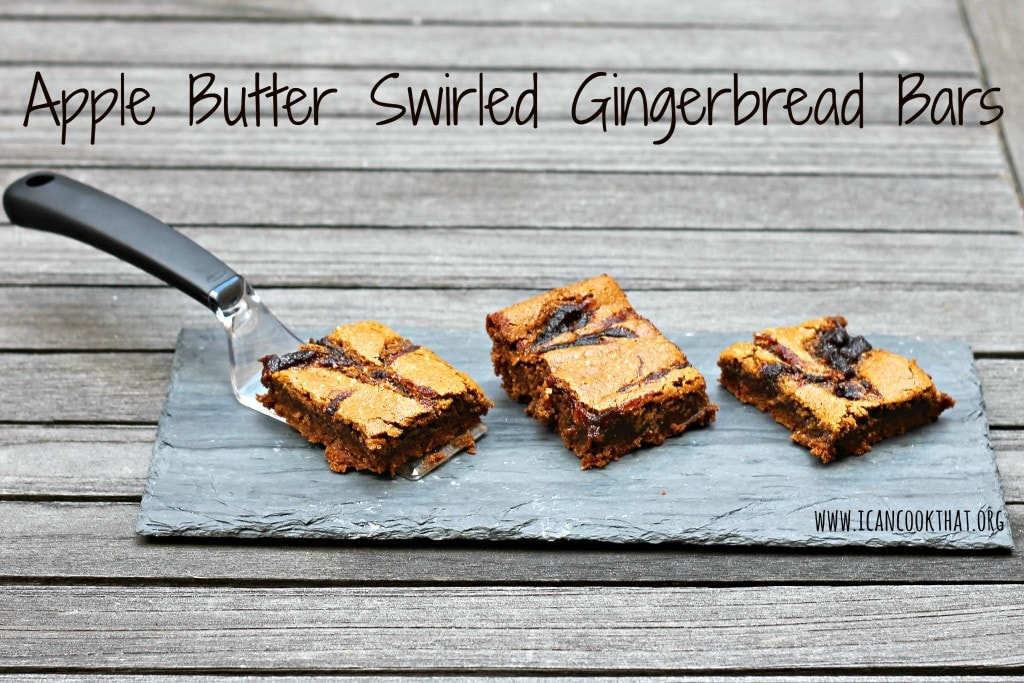 Apple Butter Swirled Gingerbread Bars