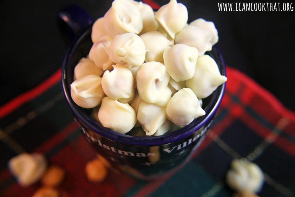 White Chocolate Peppermint Covered Pretzel Balls