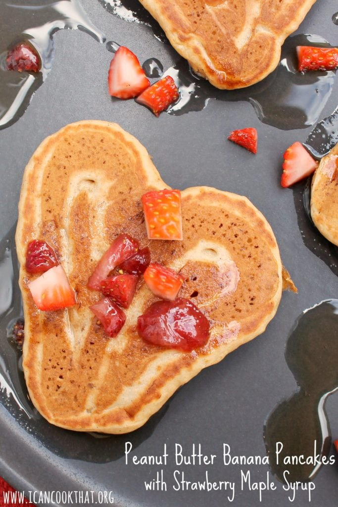 Peanut Butter Banana Pancakes with Strawberry Maple Syrup #BreakfastMonth #Krusteaz #ad
