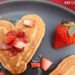 Peanut Butter Banana Pancakes with Strawberry Maple Syrup