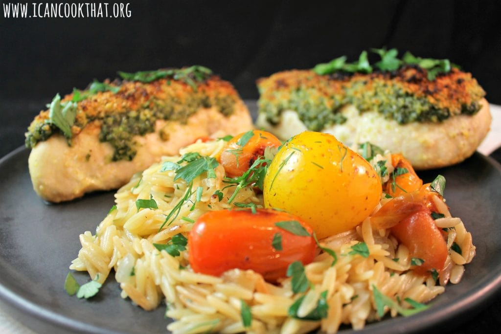 Pesto Chicken, Blistered Tomatoes and Orzo & Herb Pilaf