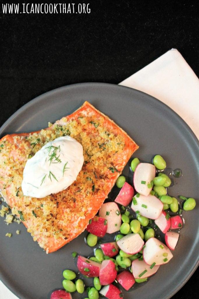 Dijon-Herb Crusted Salmon with Creamy Dill Sauce