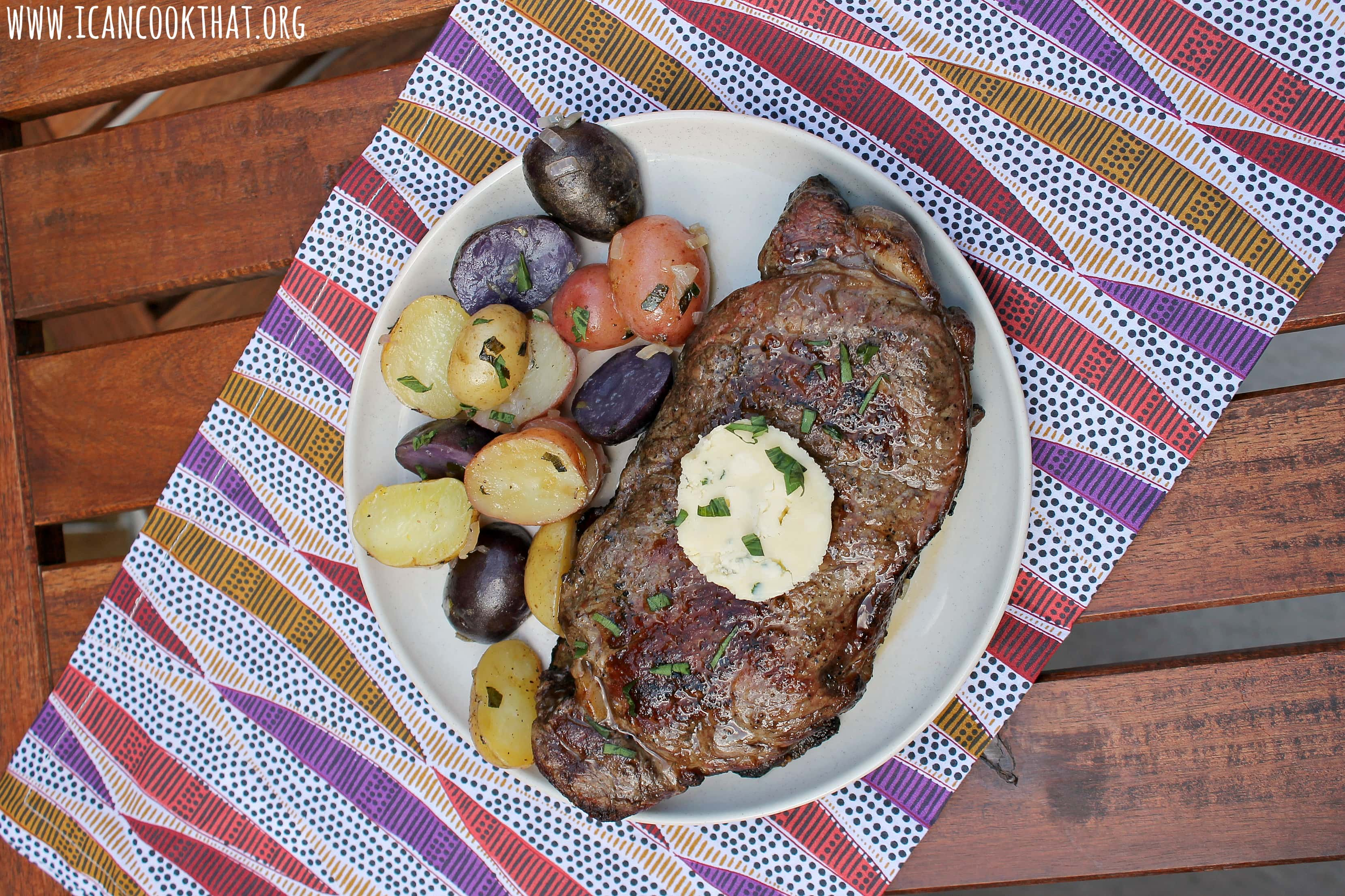 Grilled New York Strip Steak w/ Honey-Tarragon Blue Cheese Butter & Grilled Tarragon Potatoes