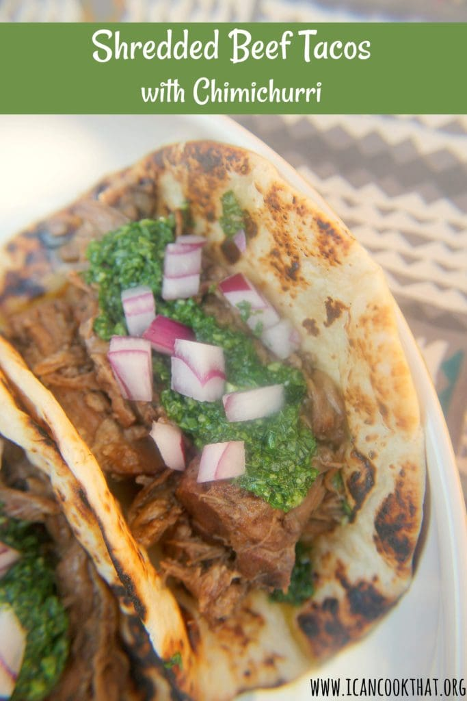 Slow Cooker Shredded Beef Tacos with Chimichurri