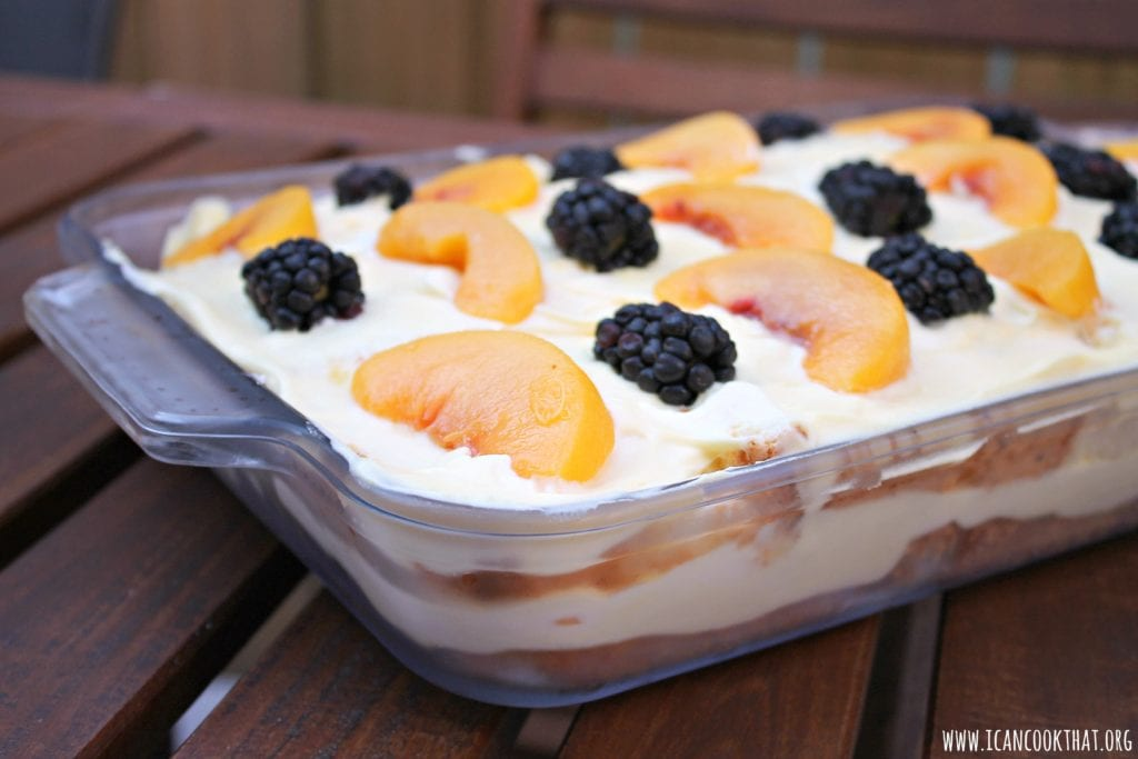 Blackberry Peaches and Cream Cake
