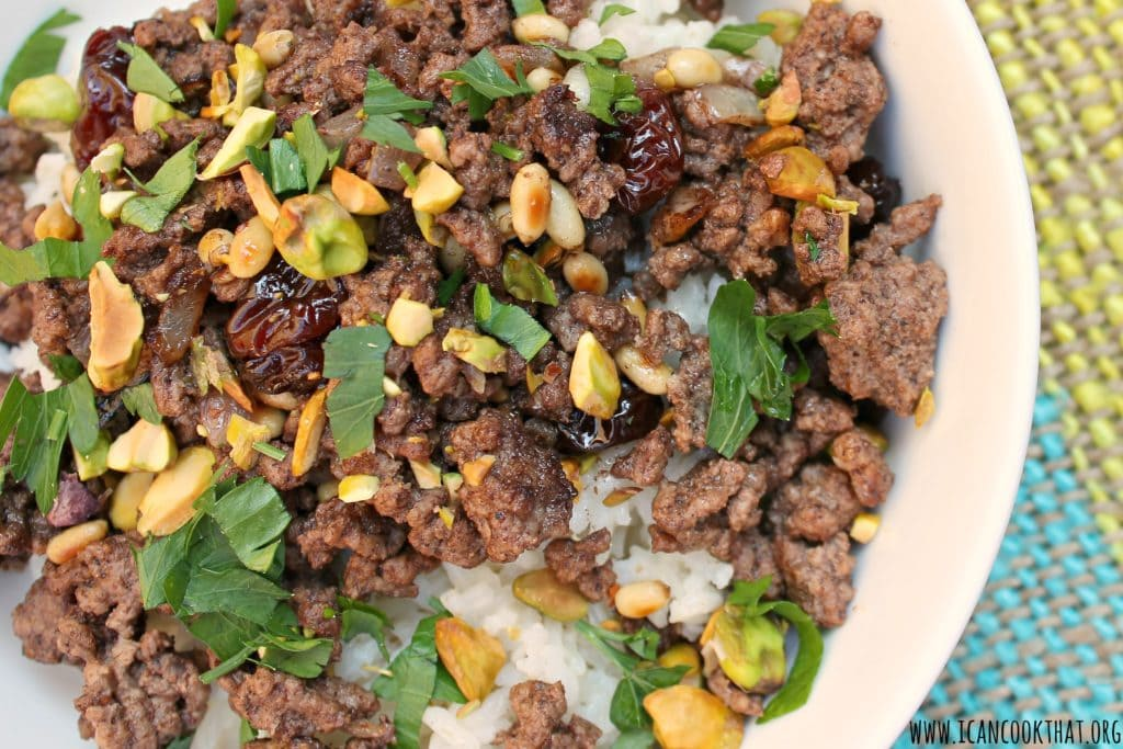 Hashweh (Spiced Ground Beef with Pistachios Over Rice)