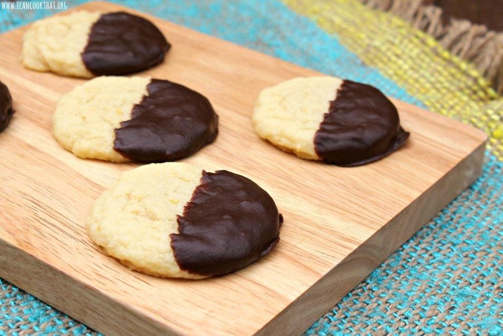 Dark Chocolate Dipped Lemon Almond Sugar Cookies