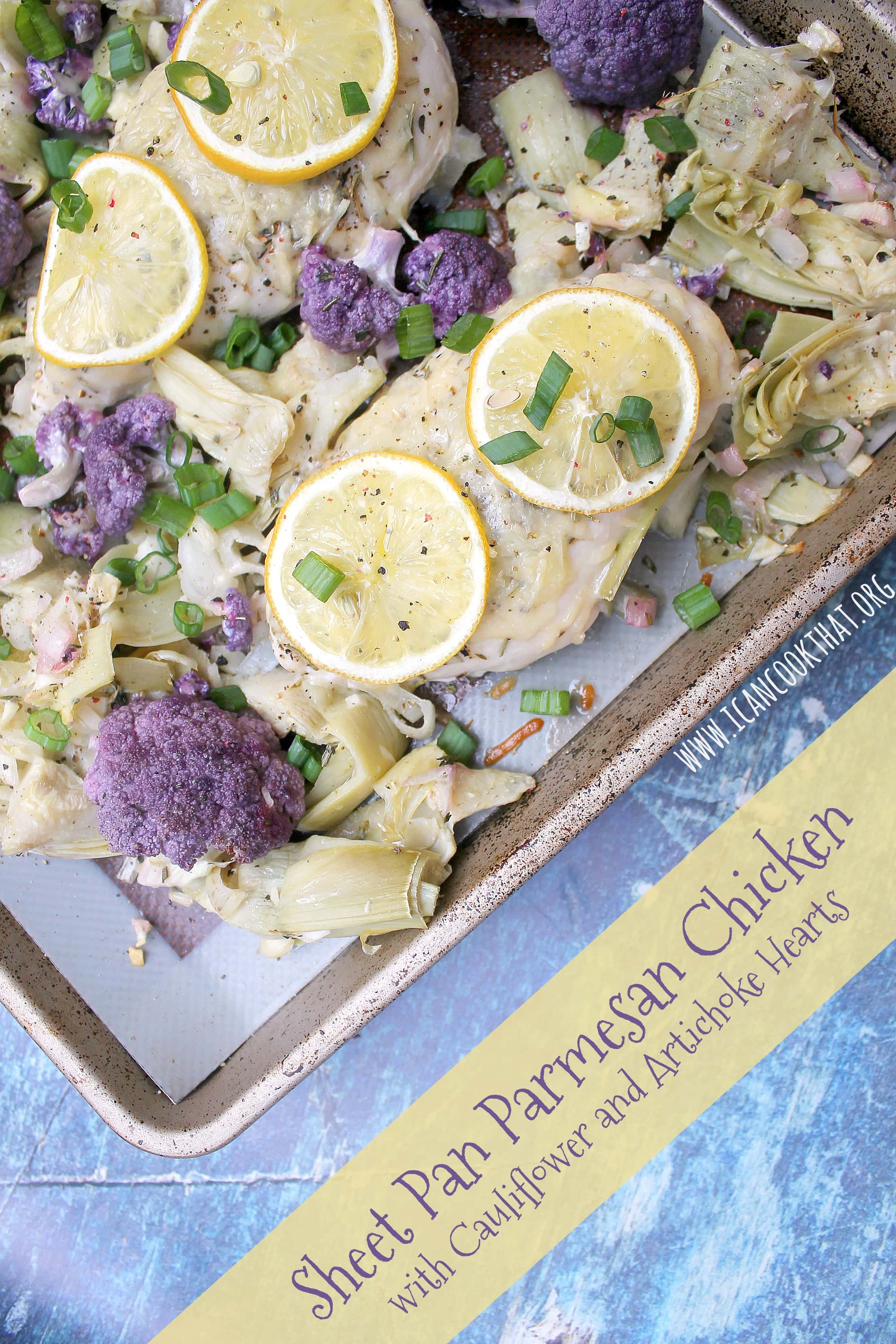 Sheet Pan Parmesan Chicken with Cauliflower and Artichoke Hearts