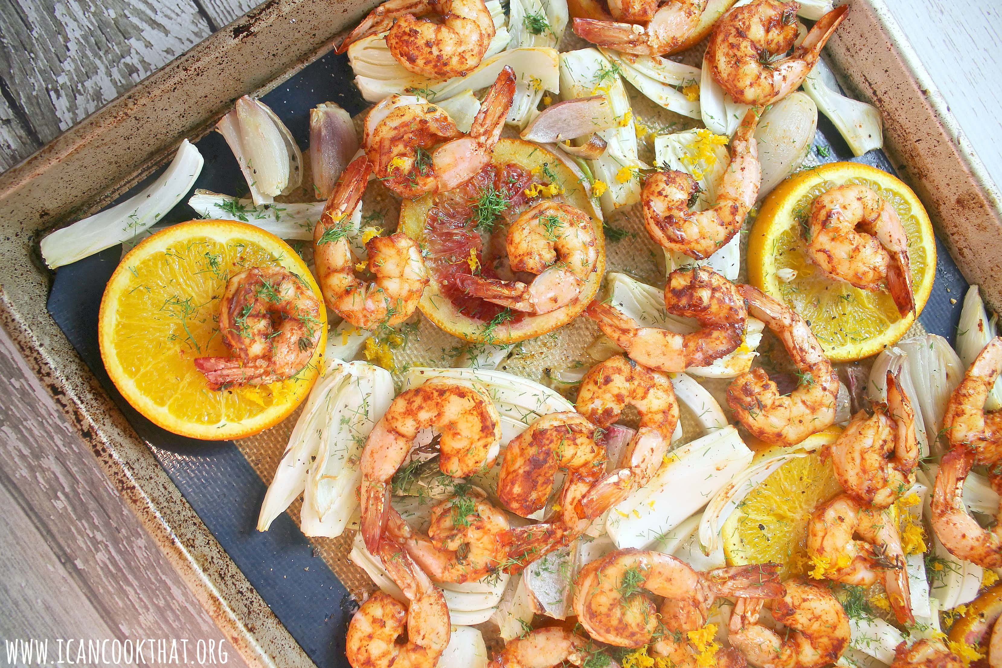 Sheet Pan Blackened Shrimp with Citrus and Roasted Fennel
