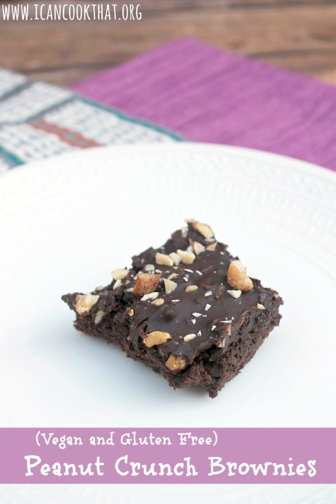 Vegan and Gluten Free Peanut Crunch Brownies