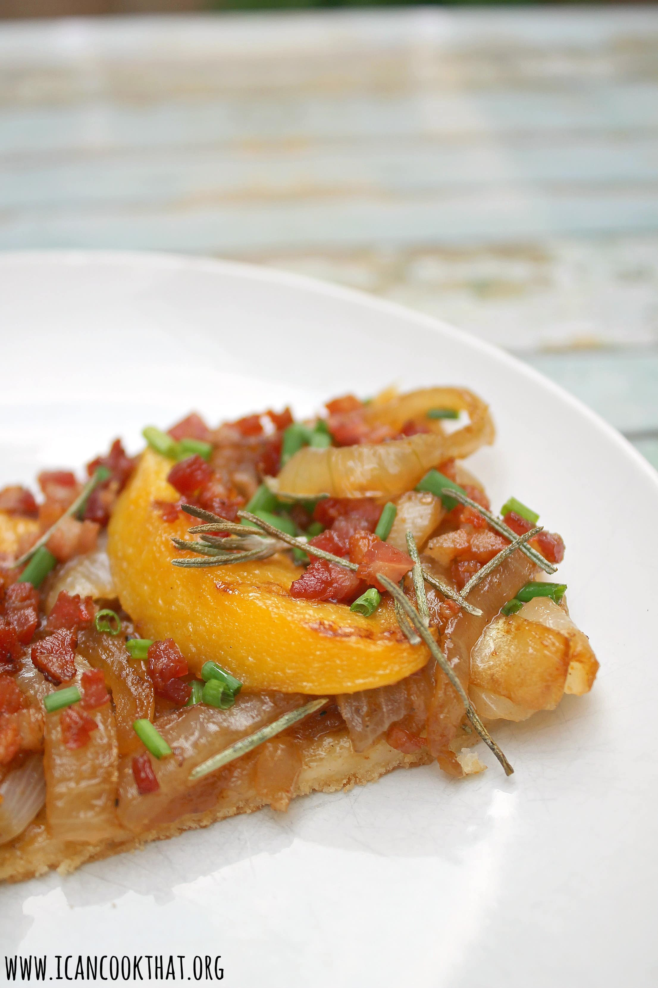 Peach, Vidalia Onion, and Pancetta Flatbread