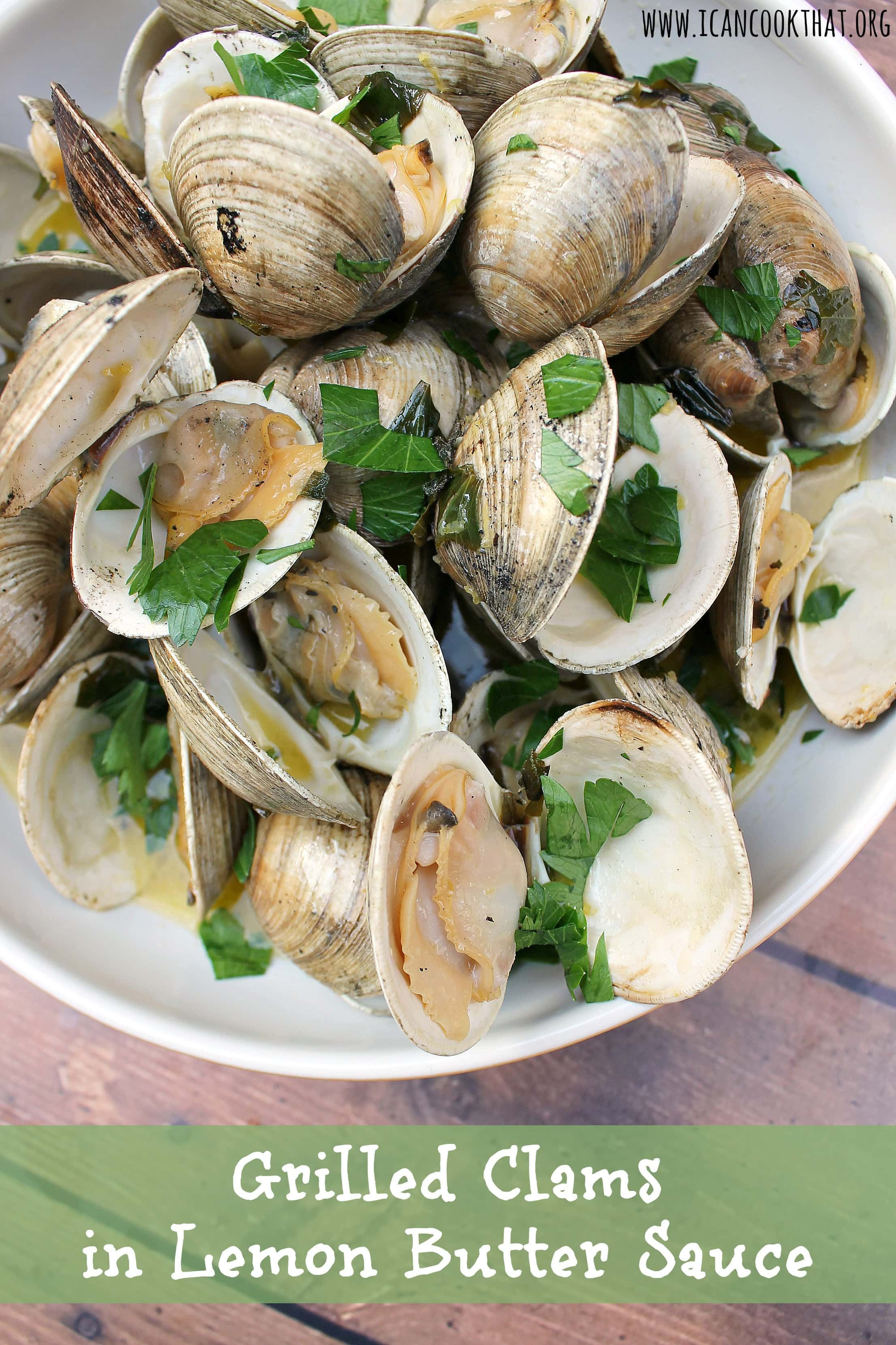 Grilled Clams in Lemon Butter Sauce