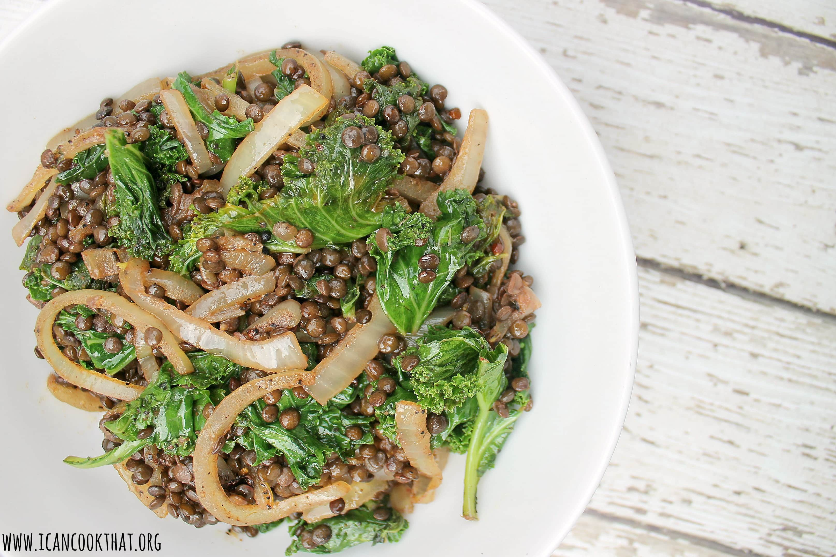Moroccan Black Lentils with Kale and Onions