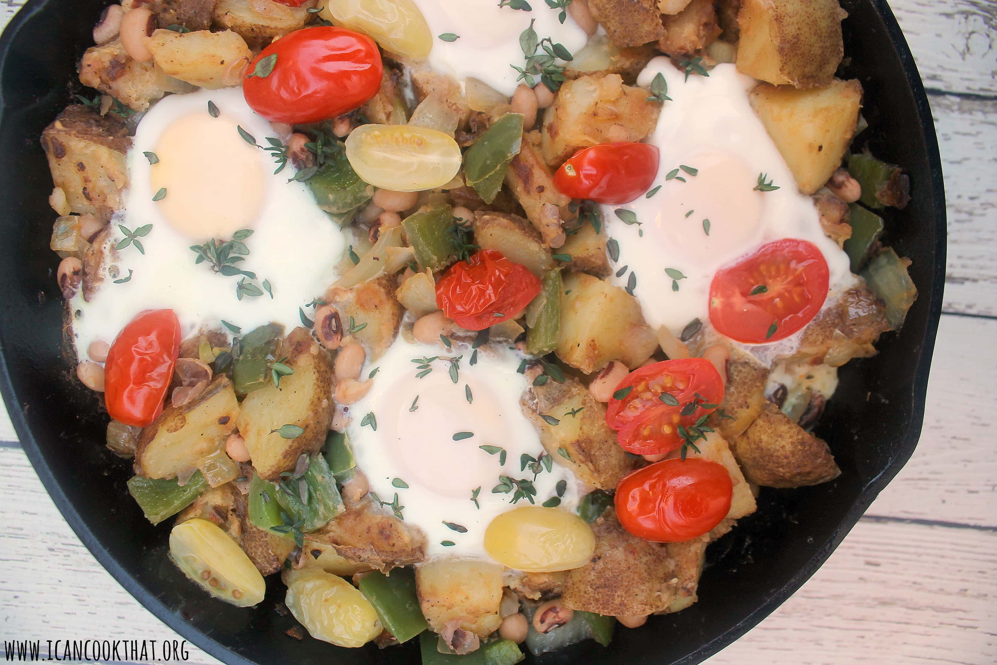 Black Eyed Peas Hash with Chorizo and Eggs