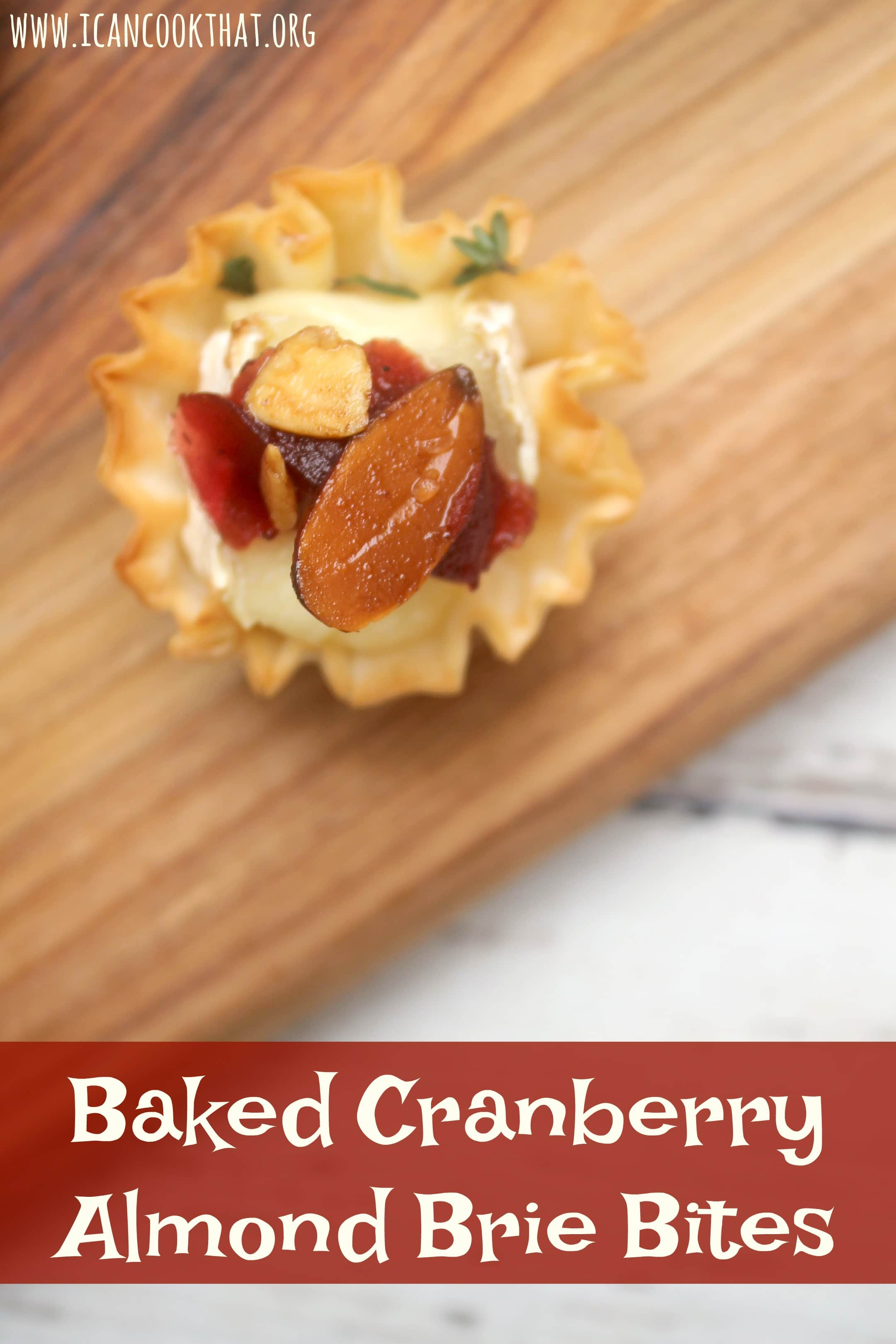 Baked Cranberry Almond Brie Bites
