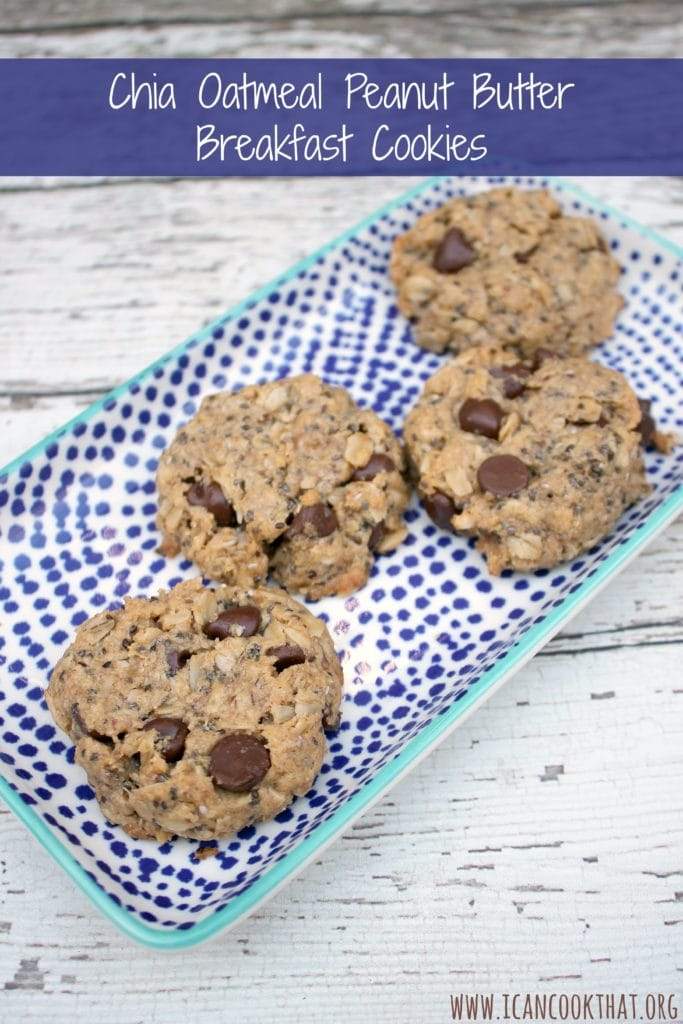 Chia Oatmeal Peanut Butter Breakfast Cookies