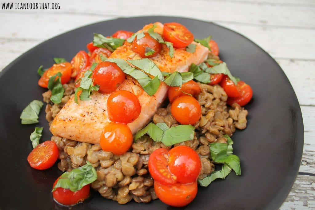 Pan Fried Salmon with Brown Lentils, Cherry Tomatoes, and Basil