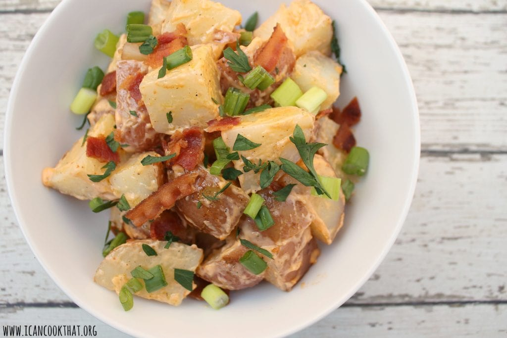 Smoked Potato Salad with Bacon and Sriracha Mayo