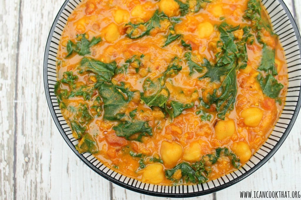 Coconut Curry Lentil Chickpea Bowls with Kale