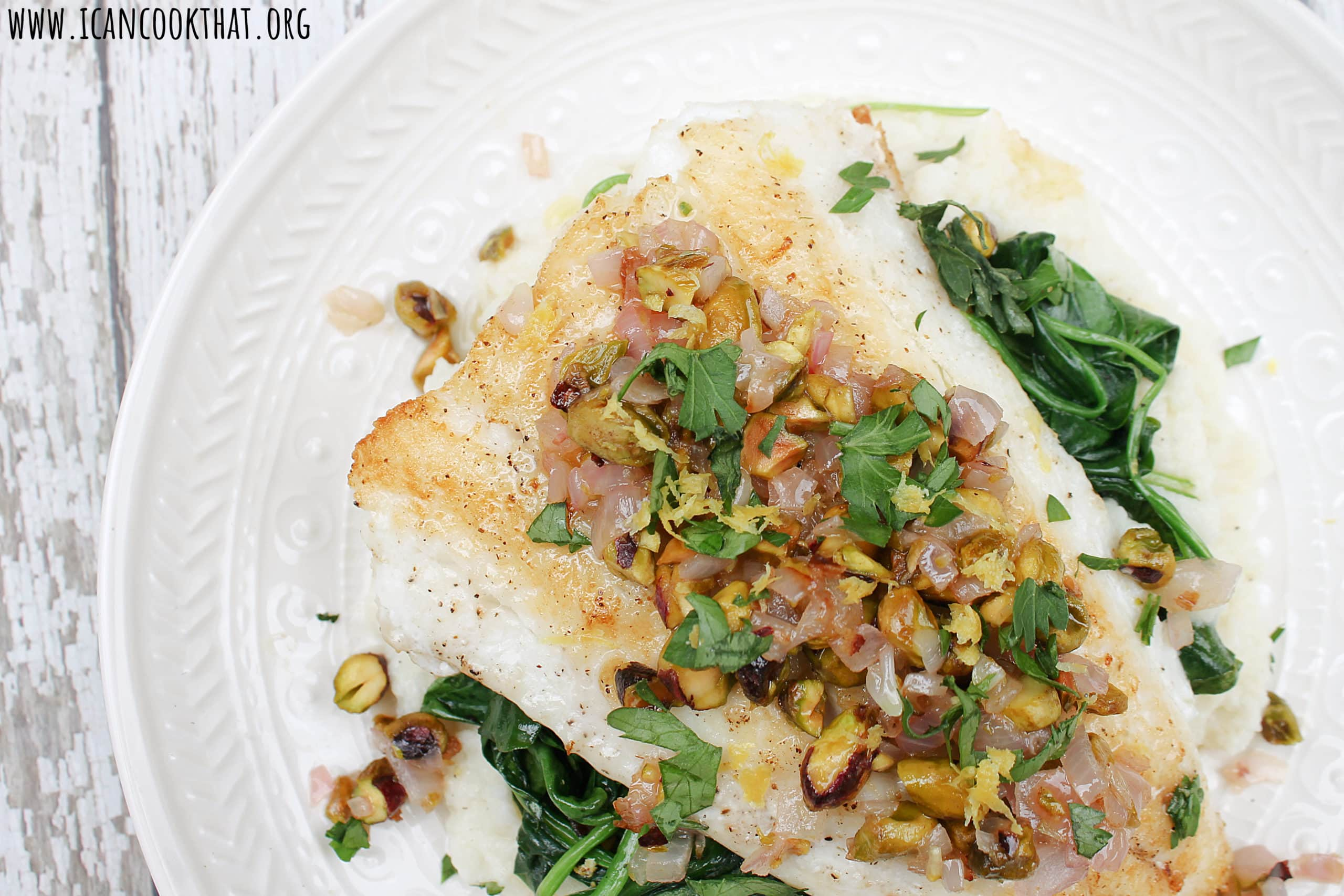 Pan Seared Lingcod with Wilted Spinach